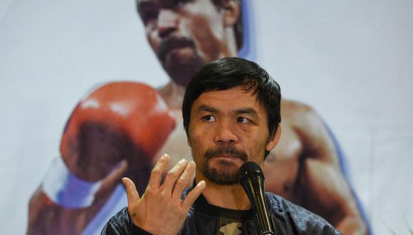 El boxeador Manny Pacquiao desafía a Rodrigo Duterte y confirma que será candidato presidencial en Filipinas. (TED ALJIBE / AFP).