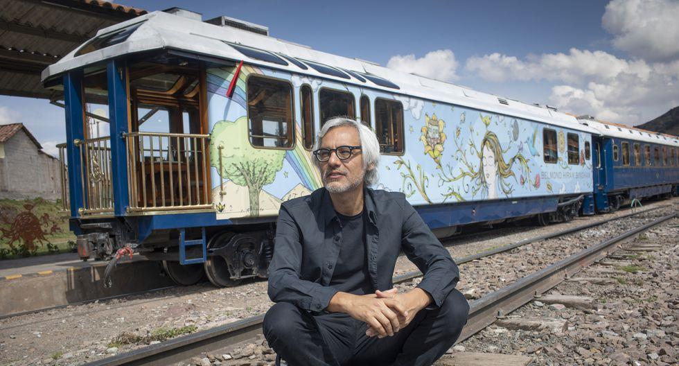 El artista Fito Espinosa trabajó en la intervención del vagón observatorio con terraza al aire libre desde abril del 2018. El arte estará hasta abril del 2020. (Foto: Richard Hirano / Somos)