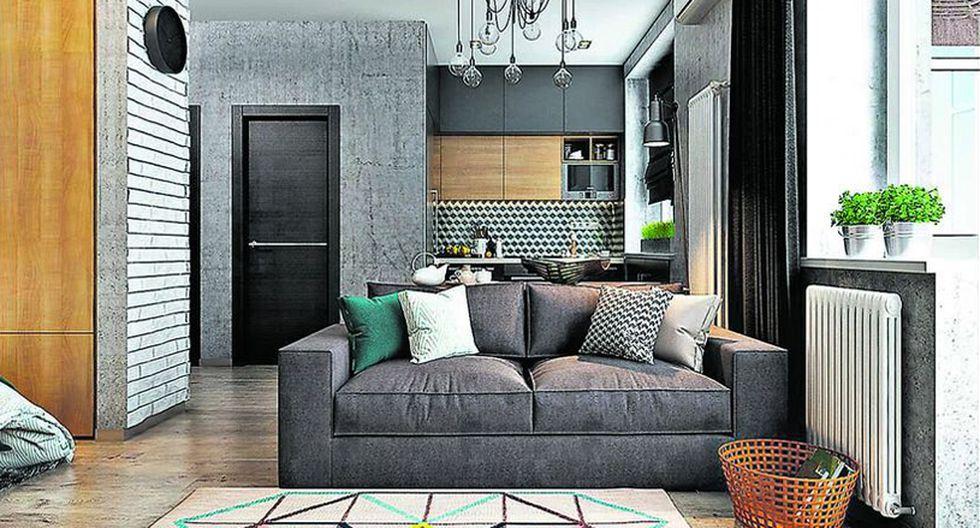 En ambientes compactos elige un sofá de dos cuerpos o seccional, para dar paso a una mejor circulación al centro de la sala. También opta por una pieza de respaldar bajo (40 cm alto) para generar una sensación de mayor altura en el lugar. (Foto: Solo Design Studio)