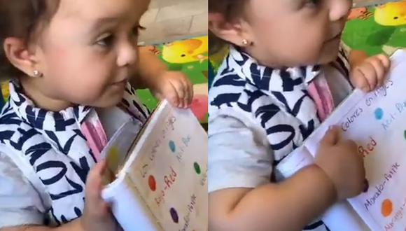La pequeña María Miranda enseña, de tierna manera, inglés a su muñeca preferida. | Foto: mariamirandamv/Instagram