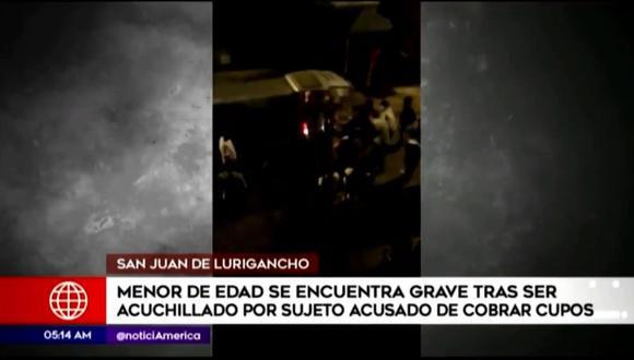 Madre de familia acusa a un sujeto de atacar con un cuchillo a su hijo adolescente de 14 años en San Juan de Lurigancho. (Captura: América Noticias)