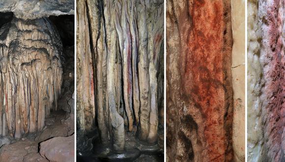 Esta combinación de imágenes muestra una vista general y un primer plano de una torre de estalagmitas parcialmente coloreada en la cueva española de Ardales, en el sur de España. (Foto: Joao Zilhao / various sources / AFP)