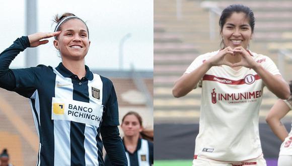 Adriana Lúcar, la goleadora de Alianza y Sabrina Ramírez, una de las figuras de la U. (Fotos: Alianza/Universitario)