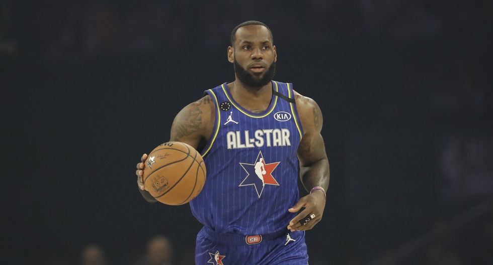 LeBron James of the Los Angeles Lakers dribbles during the first half of the NBA All-Star basketball game Sunday, Feb. 16, 2020, in Chicago. (AP Photo/Nam Huh)