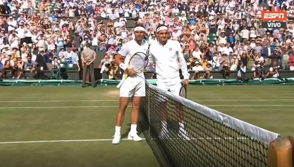 Federer vs. Nadal: el ingreso a la cancha de los rivales en la segunda semifinal de Wimbledon. (Foto: ESPN / captura de pantalla)
