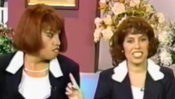 """El primer encuentro entre 'Mascaly' (Jorge Benavides) y Magaly Medina se produjo en el programa """"Hablando claro"""" de 1999. (Foto: Captura de video)"""