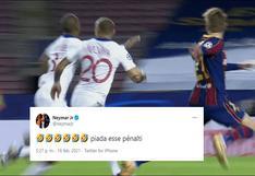 Neymar 'estalló' en Twitter por penal a favor del Barcelona pero luego borró la publicación