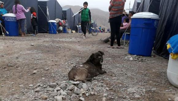 Cerca de 2 mil personas se quedaron sin casa en el centro poblado de Mirave, en Tacna, luego de la caída del huaico. Ellas fueron albergadas en carpas en la zona alta en la zona alta de esta localidad (Foto: Zenaida Condori)