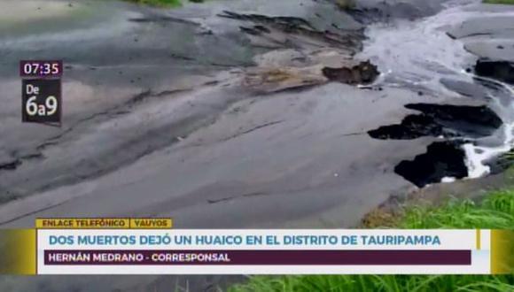 Una madre y su hijo perdieron la vida tras deslizamiento de rocas en distrito de Tauripampa. (Captura: Canal N)