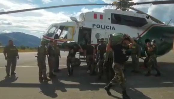 En el operativo participaron helicópteros de la Policía. (Foto: captura de video PNP)