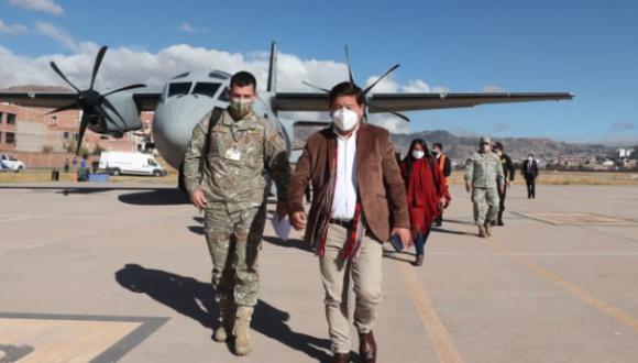 El primer ministro, Guido Bellido, llegó este lunes a Cusco. (Foto: PCM)