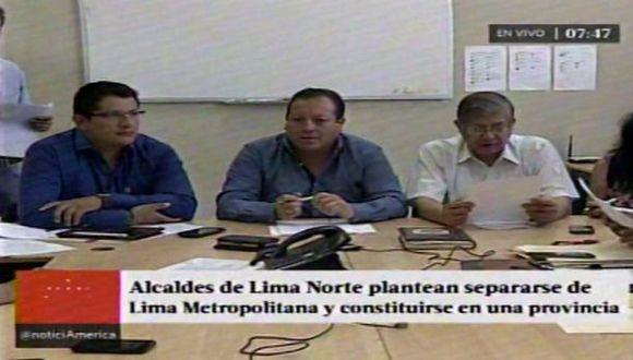 Alcaldes de Lima Norte proponen separarse de Lima Metropolitana