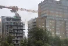 El momento en que el huracán Dorian derriba una gigantesca grúa en Canadá | VIDEO