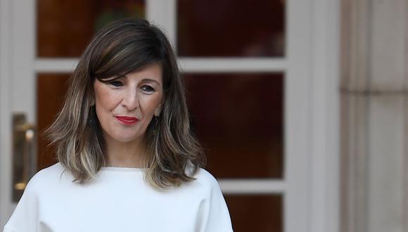 La ministra de Trabajo de España, Yolanda Díaz, llega al Palacio de la Moncloa en Madrid el 14 de enero de 2020. (Foto: PIERRE-PHILIPPE MARCOU / AFP).