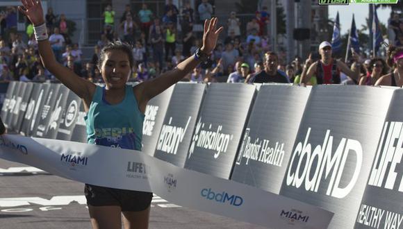 Aydee Loayza Huamán consiguió el primer lugar con una marca de 2:46:52 en la carrera de Estados Unidos. (Foto: Andrea Yañez)