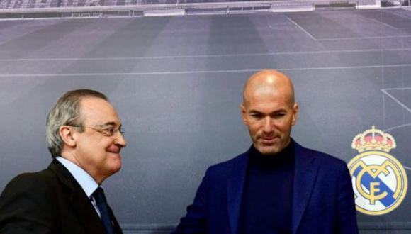 Florentino Pérez habló sobre la salida de Zinedine Zidane. (Foto: AFP)