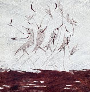 """""""Los primeros humanos"""" (2020), dibujo con tintes naturales sobre llanchama."""
