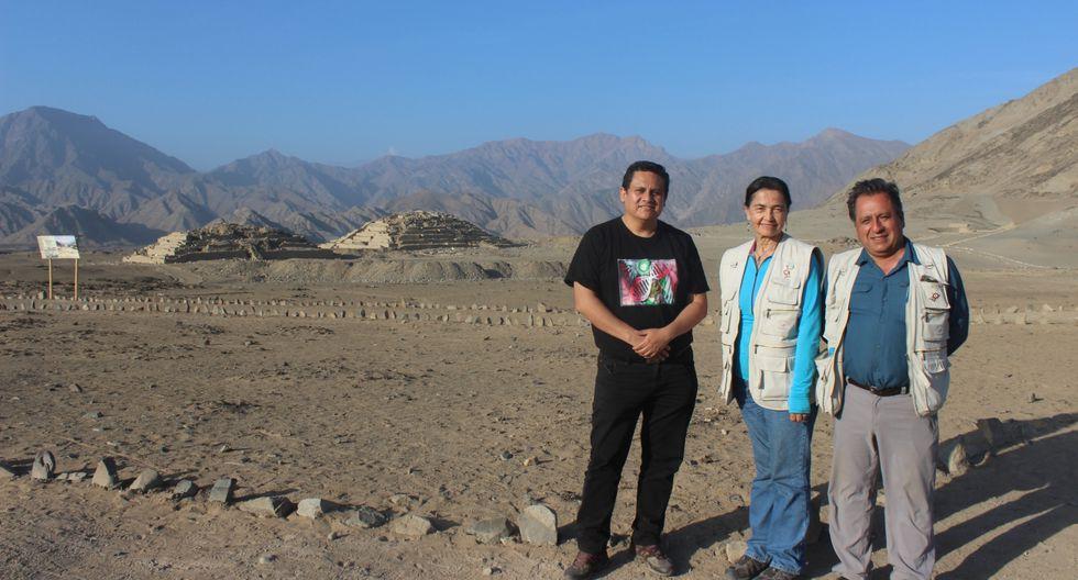 Heinner Guio, Ruth Shady y Marco Machacuay. (Foto: Zona Arqueológica Caral)