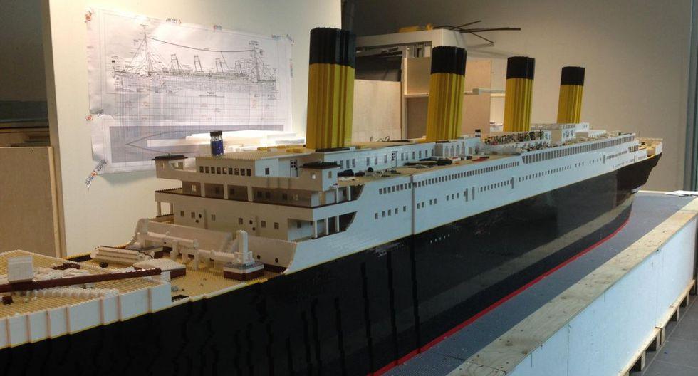 El Titanic de Lego, hasta ahora la réplica más grande del barco que se hundió en 1912, tiene 6,33 metros de largo y 1,52 metros de alto | Foto: Facebook / Brynjar Karl