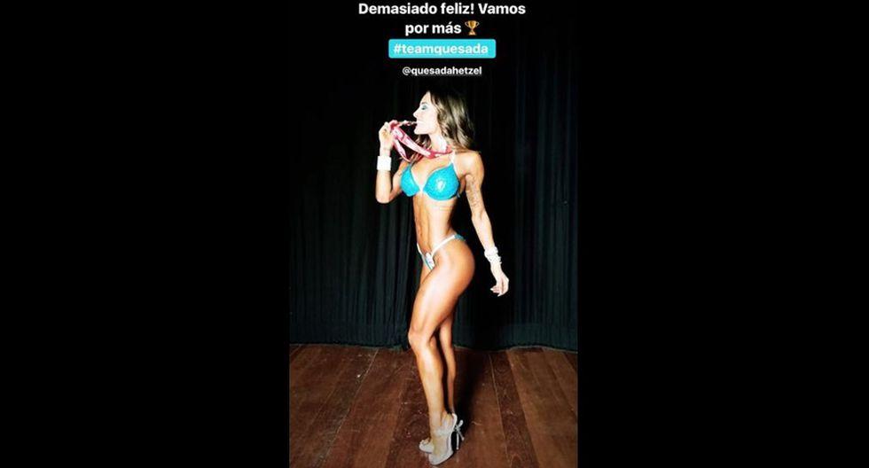 Ximena Hoyos en competencia de fisicoculturismo. (Fotos: Instagram)