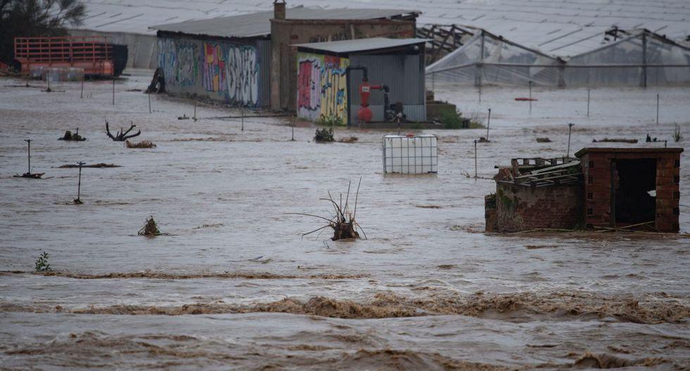 Imagen de un campo inundado en la zona de Malgrat de Mar, cerca de Girona, el 22 de enero de 2020. (Foto: AFP)