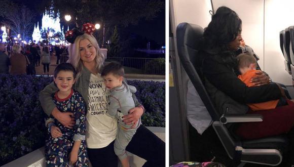 Una madre que viajó sola con sus dos pequeños hijos recibió la ayuda de tres buenos samaritanos durante su vuelo de regreso a casa. (Foto: Becca Kinsey en Facebook)