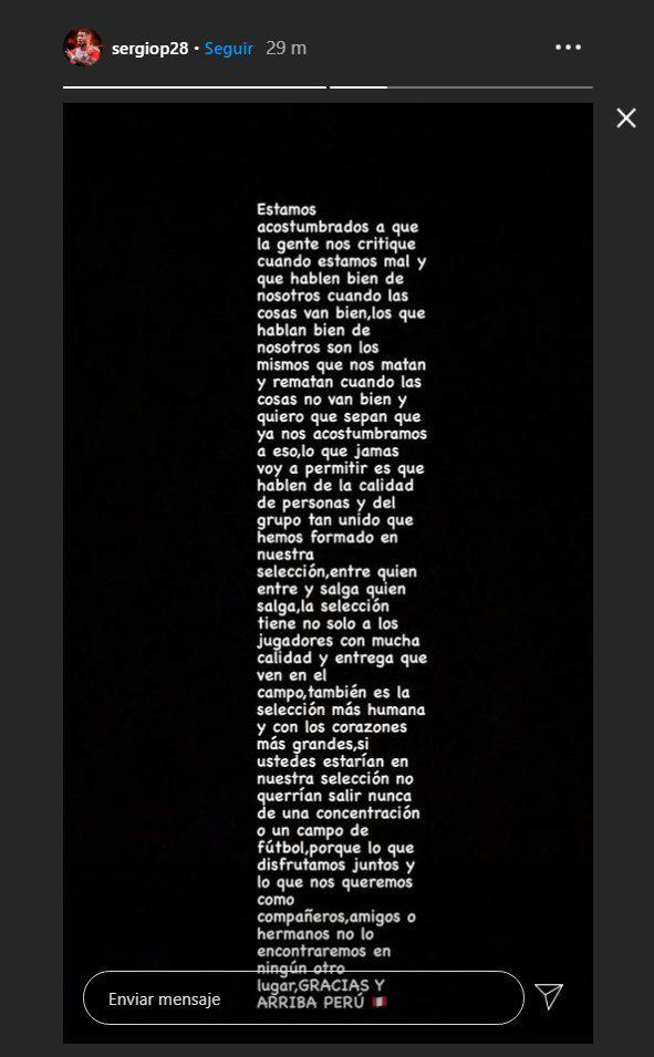 El mensaje de Sergio Peña en redes sociales. (Foto: Instagram)