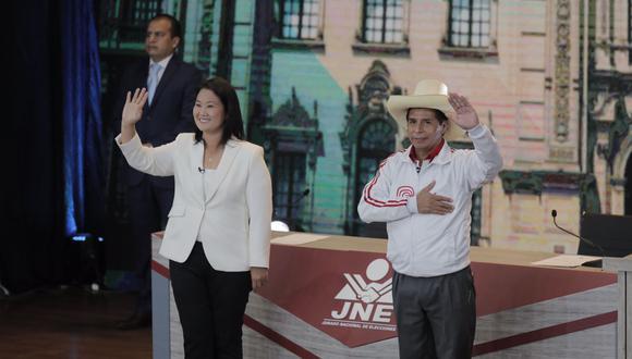Keiko Fujimori y Pedro Castillo participaron en el debate presidencial organizado por el JNE en Arequipa. (Foto: Leandro Britto / @photo.gec)