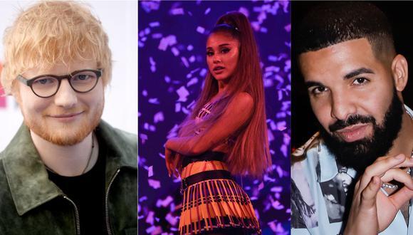 Drake y Ed Sheeran son los músicos más escuchados en todo el mundo, seguidos por Ariana Grande. (Foto: Getty Images)