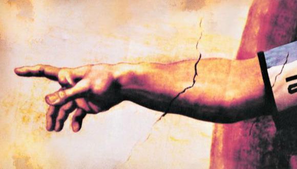 """Una imagen de autor desconocido, bastante difundida en redes sociales. Altera el fresco """"La creación de Adán"""" de Miguel Ángel, con el brazo de Dios luciendo la camiseta de Diego Maradona."""