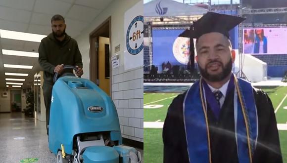 De conserje a profesor: este cuidador se graduó y consiguió el trabajo de sus sueños en la misma escuela que limpió por años (Foto: BBC)