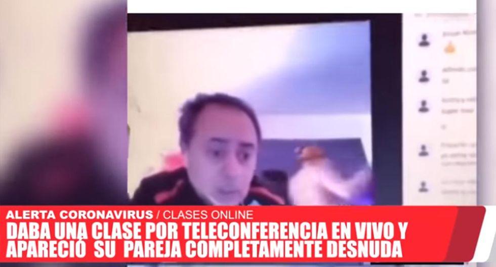 El profesor tuvo que pedirle a su esposa salga de la vista de sus alumnos. | Foto: El Tribuno de Jujuy