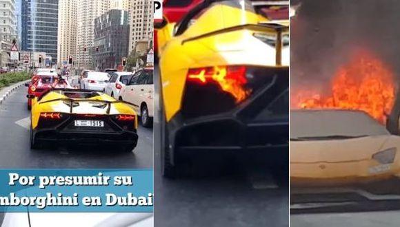 Un hombre lamentará toda su vida ser tan presumido con su lujoso vehículo que terminó en llamas. Esto ocurrió en Dubai y el video fue publicado en Facebook. (Foto: captura de video)