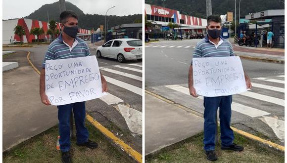 Rogerio de Souza Estrada pidió trabajo con un cartel y le llovieron ofertas. (Foto: Facebook | Fabiana Jesus)