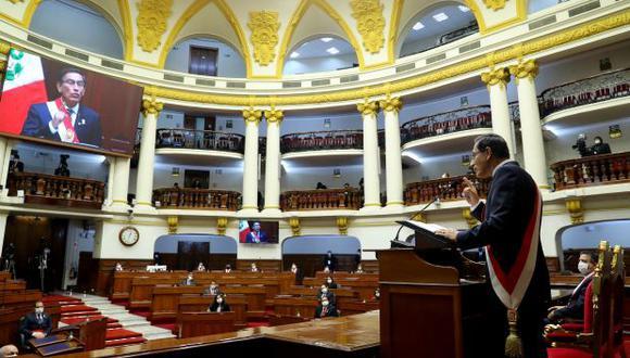 El presidente Martín Vizcarra se dirige a la nación en su último mensaje de Fiestas Patrias, el pasado martes 28 de julio, desde el Congreso.