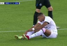 Kylian Mbappé se lesionó y tuvo que ser cambiado en el PSG vs. Brujas | VIDEO