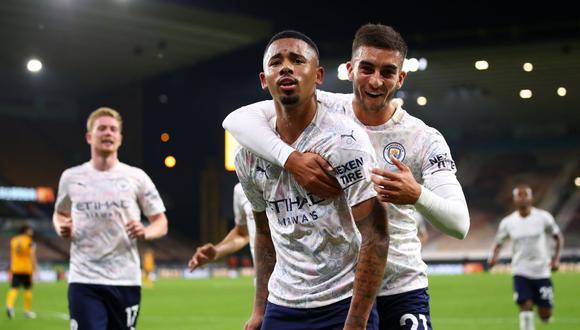 Manchester City venció al Wolverhampton por la segunda jornada de la Premier League en el Molineux Stadium con goles de De Bruyne, Foden y Gabriel Jesús. (Foto: AFP)