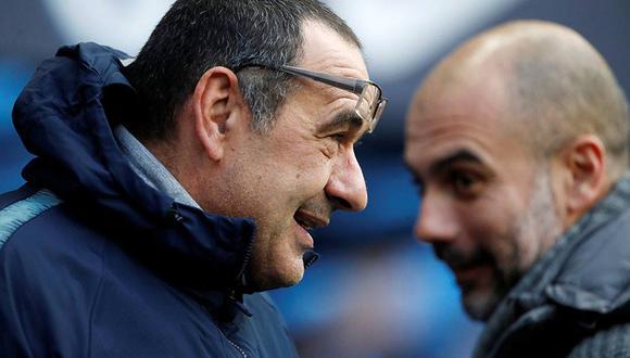 Maurizio Sarri aseguró que no vio a Pep Guardiola cuando este se acercó a saludarlo. (Foto: Reuters)