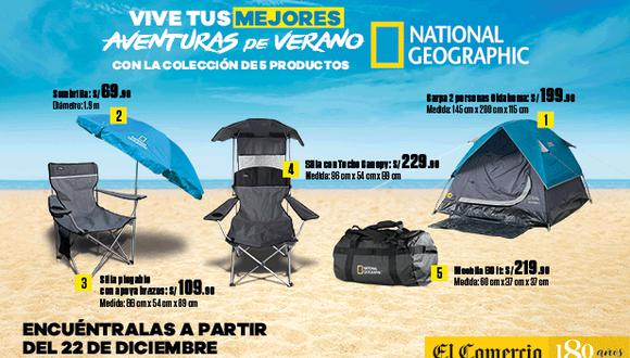 Disfruta el verano con estos 5 productos que te trae El Comercio con el respaldo de la licencia National Geographic. Ideal para disfrutar de la playa o camping con la familia y amigos.