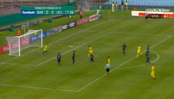 Barcelona SC vs. César Vallejo: Marcos Caicedo y la genial definición para el 1-0 en el Centenario.   Foto: Captura