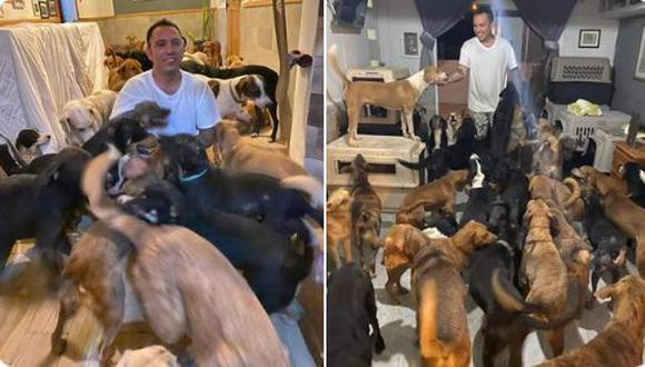 Ricardo Pimentel Cordero contó en Facebook que reunió en su casa a unos 300 perros callejeros para protegerlos del huracán Delta.