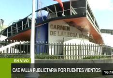 Callao: fuertes vientos causan la caída de panel publicitario en Av. Faucett |VIDEO