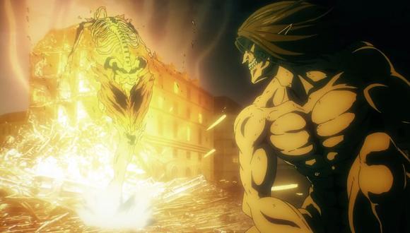 Eren se enfrenta al Titán Martillo de Guerra
