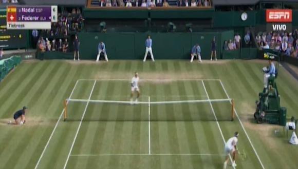 Nadal vs. Federer: un espectacular intercambio de golpes terminó con un sutil punto de Nadal. (Foto: ESPN / captura de pantalla)