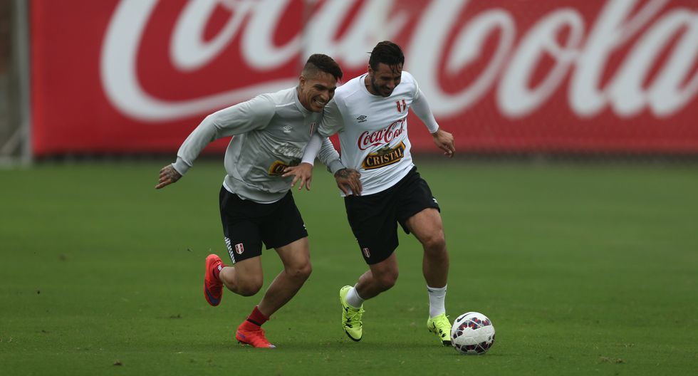Paolo y Claudio en un entrenamiento de la selección nacional. Desde el 2016 que Pizarro no está en la Bicolor. (Foto: Eddy Lozano)