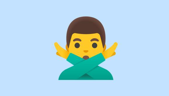 Este emoji es conocido como Man Gesturing No en inglés. Conoce qué significa en WhatsApp. (Foto: Emojipedia)