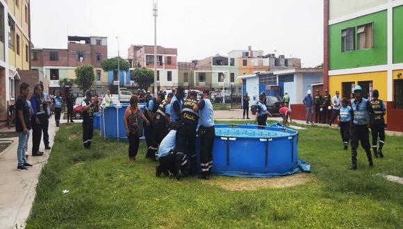 Las piscinas portátiles fueron instaladas en la vía pública. (Municipalidad del Callao)