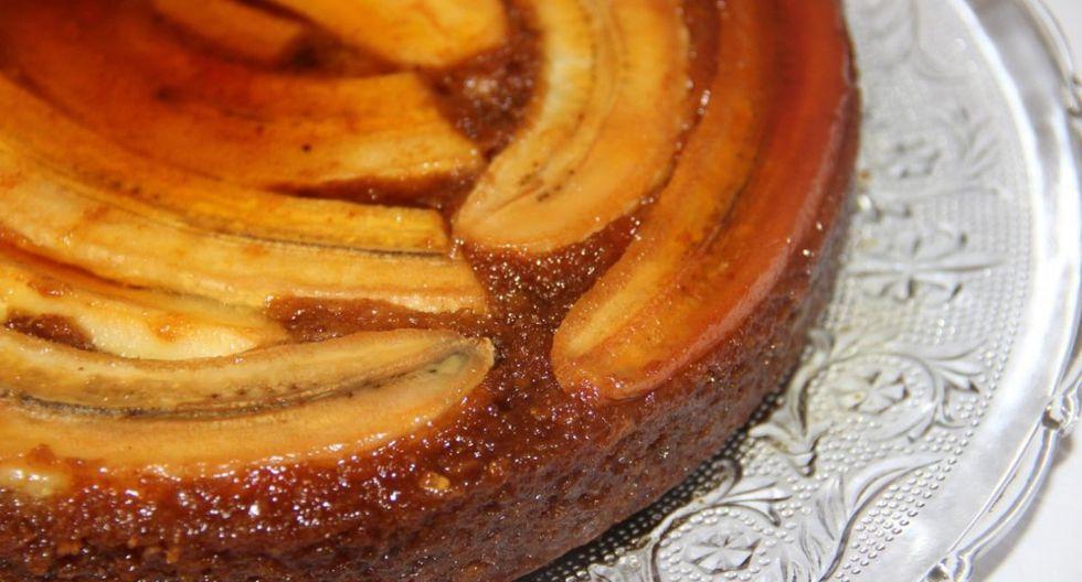 Esta receta de pastel volteado de plátano es ideal para la merienda. (Foto: Pixabay)