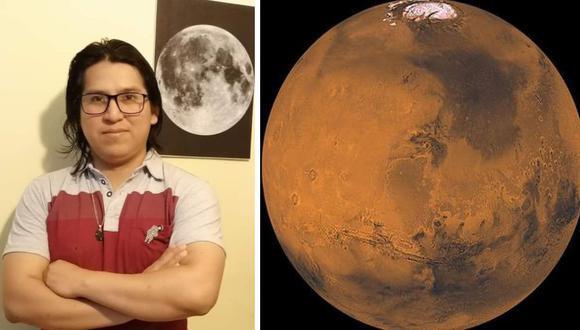 El ingeniero peruano Gustavo Jamanca mientras estudiaba en la Universidad Internacional del Espacio (ISU), con sede en Francia. El aspirante a astronauta está vinculado hoy a proyectos de C School of Mines. Al lado, el planeta Marte, en foto del 2020.