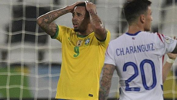 Gabriel Jesus fue expulsado ante Chile y se perdió el partido ante Perú. (Foto: AFP)